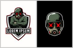 Soldiers with gas mask cartoon vector for e-Sport logo template. Unique and badass soldiers with gas mask and military helmet cartoon character vector for e stock illustration