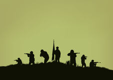 The soldiers going to attack . Stock Images