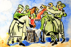 Soldiers and grandmother. Old picture painted watercolors.An old woman gives the soldiers food. Drawn in 1929 Royalty Free Stock Photos