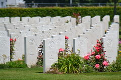 Soldiers Gravestones. At Bayeux War Cemetery, Bayeux in France Stock Photos