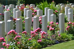 Soldiers Gravestones. At Bayeux War Cemetery, Bayeux in France Stock Photo