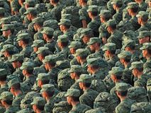 Soldiers in Green !. A platoon of soldiers marching Royalty Free Stock Image