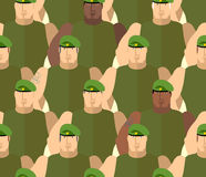 Soldiers in Green Berets. Special forces. Army seamless background of people. Marines in green t-shirts. Military  background Royalty Free Stock Photos