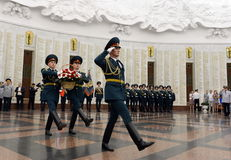 Soldiers of guard of honor lay a basket of flowers in the hall of military glory the Museum of the great Patriotic war on Poklonna Royalty Free Stock Images