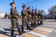 Soldiers of guard of honor march on parade Stock Photo