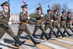 Soldiers of guard of honor march on parade Royalty Free Stock Image
