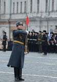 Soldiers of the guard of honor at the parade dedicated to November 7, 1941 on Red Square in Moscow. Royalty Free Stock Photos