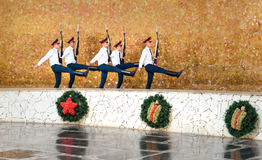 Soldiers guard march in Hall of Military Glory. Memorial complex Mamayev Kurgan in Volgograd Stock Photography