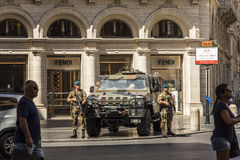 Soldiers guarding the streets in Rome Royalty Free Stock Images