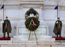 Soldiers Guarding the Tomb of the Unknown Soldier. A picture of two soliers guarding the tomb of the unknown soldier on the monument of Vittorio Emmanuel in Rome Stock Photo