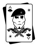 Soldiers gun and playing cards Royalty Free Stock Photos