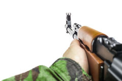 Soldiers hand with rifle AK-47 Royalty Free Stock Images