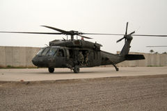 Soldiers in Helicopter in Iraq Stock Photo