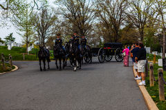 Soldiers on Horses at Arlington Cemetery Stock Photo
