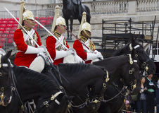 Soldiers from the Household Cavalry Regiment. At Horseguards Parade. Stock Photo