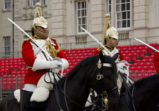 Soldiers from the Household Cavalry Regiment. At Horseguards Parade. Stock Photos