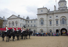 Soldiers from the Household Cavalry Regiment. At Horseguards Parade. Royalty Free Stock Photo