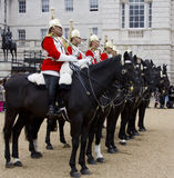 Soldiers from the Household Cavalry Regiment. At Horseguards Parade. Royalty Free Stock Image