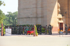 The soldiers of India Gate in Delhi Royalty Free Stock Photography