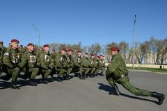 The soldiers of internal troops of the MIA of Russia are preparing to parade in red square Stock Photography