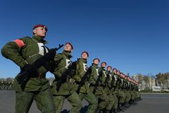 The soldiers of internal troops of the MIA of Russia are preparing to parade in red square Royalty Free Stock Image