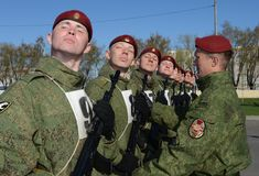 The soldiers of internal troops of the MIA of Russia are preparing to parade in red square Royalty Free Stock Images