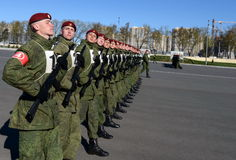 The soldiers of internal troops of the MIA of Russia are preparing to parade in red square. Royalty Free Stock Photo