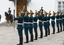 Soldiers of Kremlin regiment. In Kremlin, Moscow, Russia Royalty Free Stock Photos