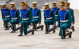 Soldiers of Kremlin regiment. In Kremlin, Moscow, Russia Stock Image