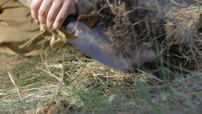 Soldiers lay explosives. World war II. The reconstruction of the battle stock video