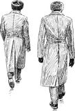 Soldiers on leave. Vector drawing of the walking men in the greatcoats Stock Photo