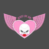 Soldiers love army logo and emblem. White skull and pink heart w Royalty Free Stock Photography