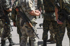 Ukrainian Soldiers with machine-guns. Standing in line war Royalty Free Stock Photography