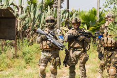Soldiers on maneuvers Stock Photos