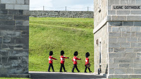 Soldiers March at The Citadel in Quebec City Stock Image