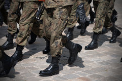 Soldiers march in formation Royalty Free Stock Photo