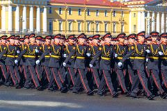 Soldiers March during a military parade. May 2018 year Russia, St. Petersburg.  Royalty Free Stock Photography
