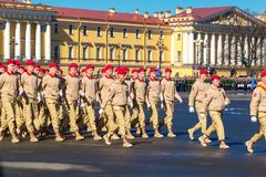 Soldiers March during a military parade. May 2018 year Russia, St. Petersburg.  Stock Image