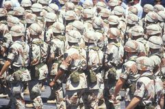 Soldiers Marching in Desert Storm Victory Parade, Washington, D.C. Stock Images