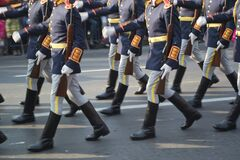 soldiers-marching-at-a-military-parade Stock Photo