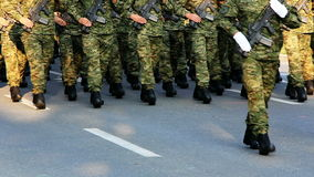 Soldiers marching stock video footage