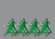 Soldiers Marching in Military Parade. Soldiers in green uniform marching past in military parade. Vector illustration isolated on grey background Royalty Free Stock Images