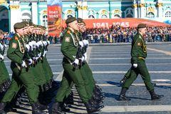 Soldiers marching at a military parade. 2018 year Russia, may stock image