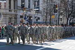 Soldiers marching in NYC St. Pat's Day Parade. Military Procession in NYC Saint Patrick's Day Parade - Circa 2010 Royalty Free Stock Images