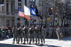 Soldiers marching in NYC St. Pat's Day Parade. Military Procession in NYC Saint Patrick's Day Parade - Circa 2010 Royalty Free Stock Photography