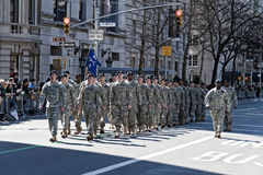 Soldiers marching in NYC St. Pat's Day Parade. Military Procession in NYC Saint Patrick's Day Parade - Circa 2010 Stock Image