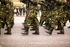 Soldiers marching during Romania`s National Day. Military parade Stock Photos