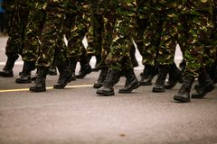 Soldiers marchingduring Romania`s National Day military parade. Soldiers marching during Romania`s National Day military parade Royalty Free Stock Photos