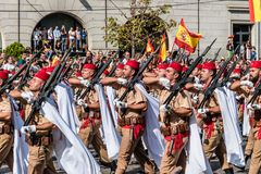 Soldiers marching in Spanish National Day Army Parade. Madrid, Spain - October 12, 2017: Soldiers marching in Spanish National Day Army Parade. Several troops Stock Photo