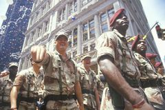 Soldiers Marching in Ticker Tape Parade, New York City, New York Stock Photos